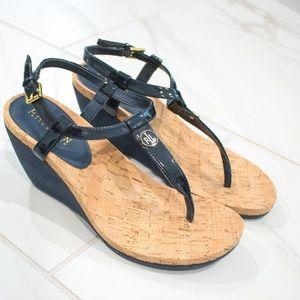 Ralph Lauren | Reeta Navy Cork Wedge TStrap Sandal
